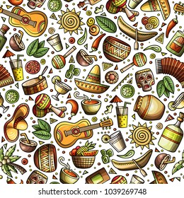 Cartoon hand-drawn latin american, mexican seamless pattern. Lots of symbols, objects and elements. Perfect funny vector background.