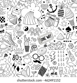 Cartoon hand-drawn seamless vector pattern with doodle icons items. Vector  background with cute elements. Funny children drawing. Coloring book. Wallpaper, cloth design, fabric, textile, backdrop.