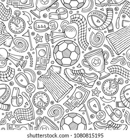 Cartoon hand-drawn Soccer seamless pattern. Lots of symbols, objects and elements. Perfect funny vector background.
