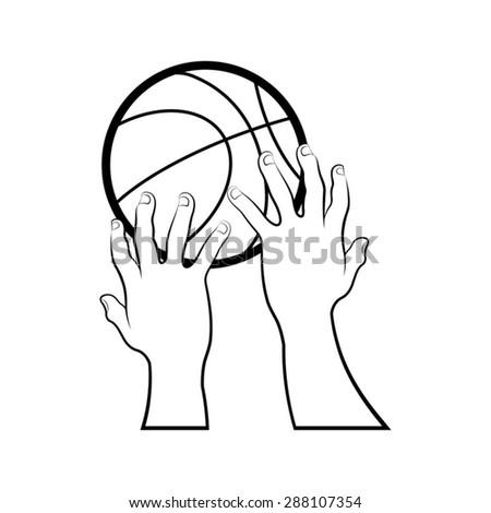 Cartoon Hands Catching Basket Ball Stock Vector Royalty