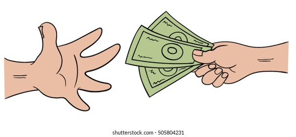 Cartoon hands exchanging money
