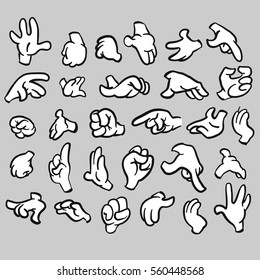 Cartoon hands gesture collection, filled, Hand drawn Vector Artwork