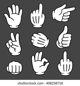 Cartoon hands gesture set on dark background. Traditional cartoon white glove. Vector clip art illustration.