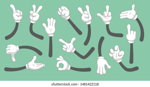 Cartoon hands in gloved. Vector clipart arms  in different poses. Vector isolated illustration symbols set