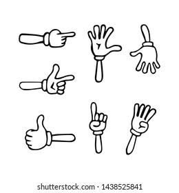Cartoon hands. Gloved hands. Vector isolated illustration symbols set