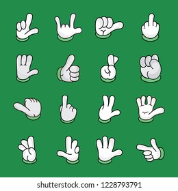 A cartoon hands icons pack is a representation of nonverbal communication through hand gestures such as ok sign, loser sign, air communication, love symbol, thumbs up, power symbol and many more. A pa