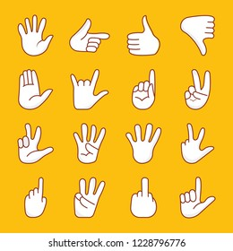 A cartoon hands icons pack is a representation of nonverbal communication through hand gestures such as ok sign, loser sign, air communication, love symbol, thumbs up, power symbol and many more. A p