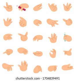 Cartoon hands set icons and symbols. Different gestures. Isolated vector clip art illustration. Abstract funny flat style.Design templates for graphic
