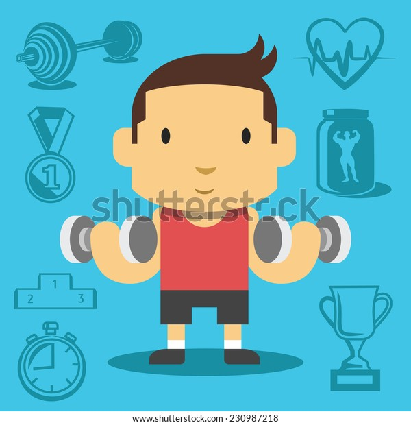 Cartoon handsome guy pumping biceps. Creative vector flat illustration. Cute mascot concept. Creative background with sport equipment icons, pictograms, symbols. Trendy style graphic design elements.
