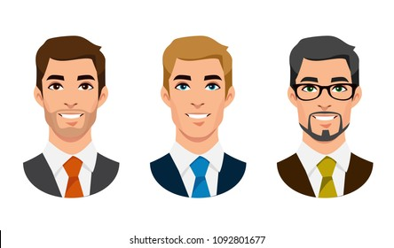 Cartoon handsome young businessman portraits with beard or without vector illustration. Man face avatar set isolated on white background