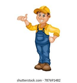 Cartoon Handy Man. Cheerful Mechanic
