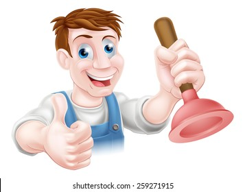 Cartoon handyman or plumber holding a sink or toilet plunger and doing a thumbs up