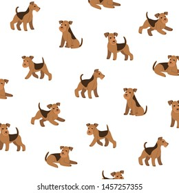 Cartoon happy airedale terrier - simple trendy pattern with dogs. Flat vector illustration for prints, clothing, packaging and postcards.