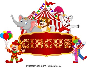 Cartoon happy animal circus with clown on the carnival background