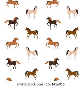 Cartoon happy animal - simple trendy pattern with different type of horse. Flat vector illustration for prints, clothing, packaging and postcards.