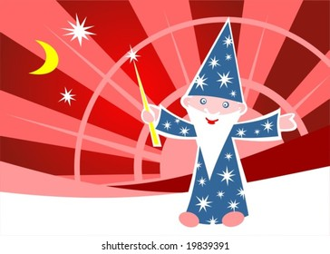 Cartoon happy astrologer on a red striped background.