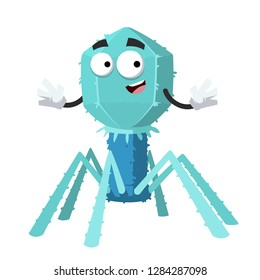 cartoon happy bacteriophage cell mascot smiling on white background