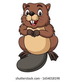 Cartoon happy beaver on white background