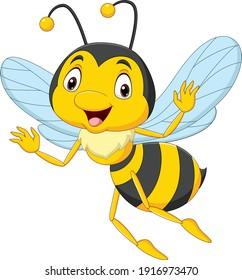 Cartoon happy bee isolated on white background