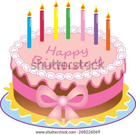 Cartoon Happy Birthday Cake Colored Candlessugar Stock Vector
