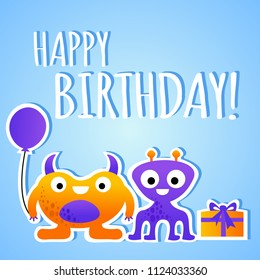 Cartoon happy birthday card for children with monsters, vector illustration