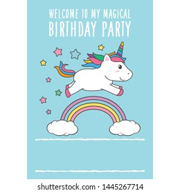 Cartoon Happy Birthday Magical Unicorn illustration Invitation Greeting Card with fun and cute look pastel color