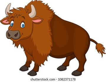 Cartoon happy bison