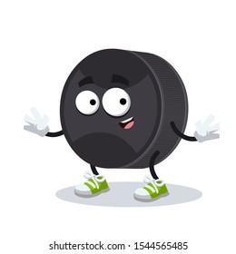 cartoon happy black rubber hockey puck mascot smiling on white background