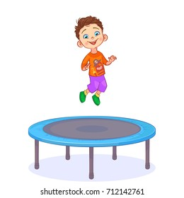 Cartoon happy boy jumping on a round blue trampoline. Active children's outdoors games. Colorful vector illustration isolated on white background.
