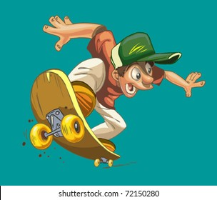 cartoon happy boy on a skateboard isolated on a green background