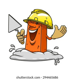 Cartoon happy brick professional mason character with trowel in hand wearing yellow construction helmet and gloves, standing in mortar