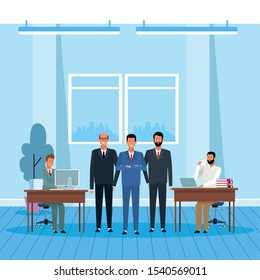 cartoon happy businessmen partners standing and workers at desks in the office, colorful design. vector illustration