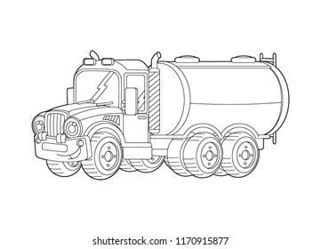 cartoon happy cargo truck with tank - vector coloring page - illustration for children
