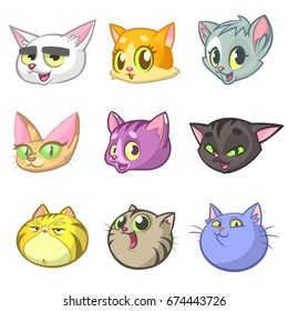 Cartoon Happy Cats Heads Set. Vector illustration of cats icons. Cartoon sphinx, Maine Coon, siamese, british and domestic