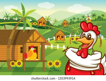 Cartoon Happy chicken character with chicken farm village background, vector illustration