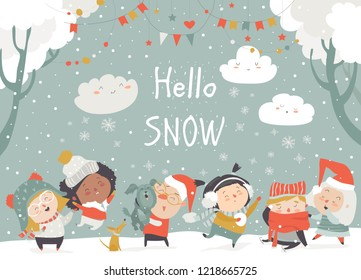 Cartoon happy children enjoying winter. Hello snow