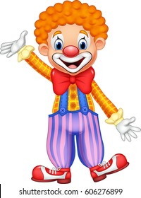 Cartoon happy clown waving hand