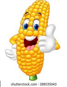 Cartoon happy corn giving thumb up