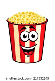 Cartoon happy cute popcorn character for fastfood design