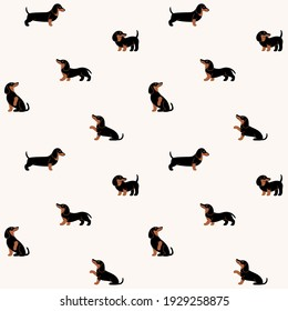 Cartoon happy dachshund - seamless trendy pattern with dogs in various poses. Flat vector illustration for prints, clothing, packaging and postcards.