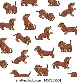 Cartoon happy dachshund - simple trendy pattern with dogs. Flat vector illustration for prints, clothing, packaging and postcards.
