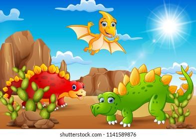 Cartoon happy dinosaurs living in the desert