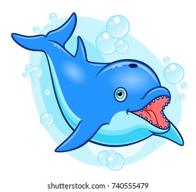 Cartoon happy dolphin