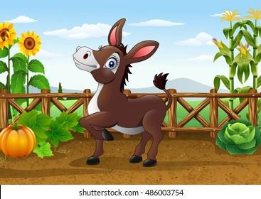 Cartoon happy donkey in the farm