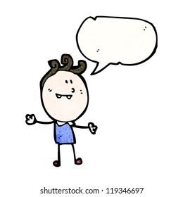 cartoon happy doodle  man with speech bubble