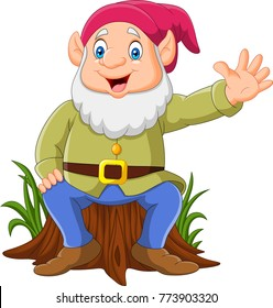 Cartoon happy dwarf sitting on tree stump