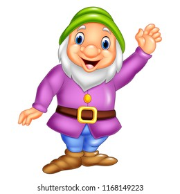 Cartoon happy dwarf waving