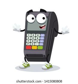 cartoon happy EDC card swipe machine mascot smiling on white background