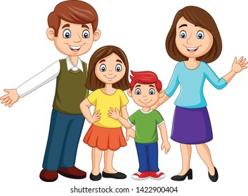 Cartoon happy family on white background