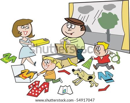 cartoon happy family packing vacation stock vector royalty free